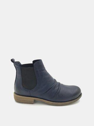 Tmavě modré dámské kožené chelsea boty WILD