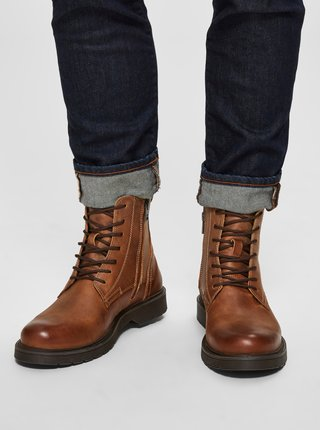 Hnědé kožené kotníkové boty Selected Homme