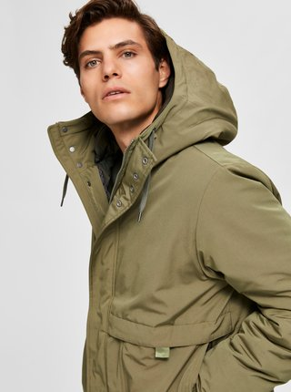 Kaki zimná parka Selected Homme
