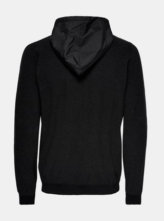 Čierny sveter na zips ONLY & SONS