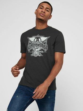 Tmavě šedé tričko ONLY & SONS Aerosmith
