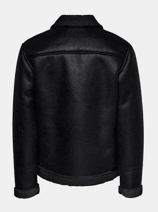 Černá koženková bunda ONLY & SONS