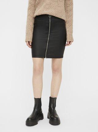 Černá koženková sukně Pieces Roxy