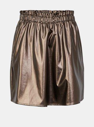 Koženková sukňa v zlatej farbe Pieces Raelin