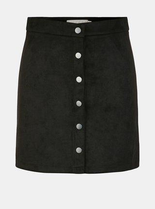 Černá sukně v semišové úpravě Pieces Sevan
