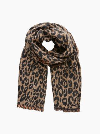 Hnedý šál s leopardím vzorom Pieces Sindy