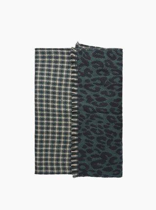 Zelený šál s leopardím vzorom Pieces Sindy