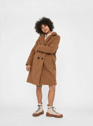 Hnedý kabát z umelého kožúšku Noisy May Gabi
