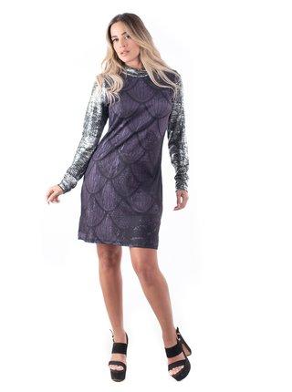 Culito from Spain tmavé šaty Labrado s metalickými rukávy