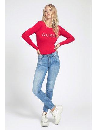 Guess červený svetr Rhinestones Front Logo Sweater
