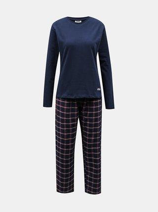 Tmavě modré dámské kostkované pyžamo FILA