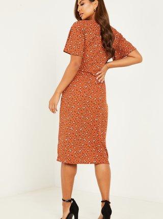 Hnedé kvetované šaty s rozparkom QUIZ