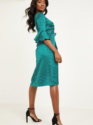Zelené puntíkované saténové šaty QUIZ