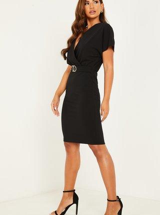 Černé pouzdrové šaty s páskem QUIZ