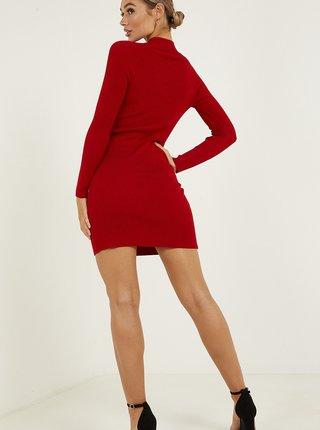 Červené pouzdrové svetrové šaty QUIZ