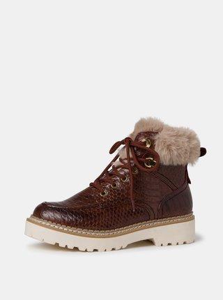 Hnědé vzorované zimní kotníkové boty Tamaris
