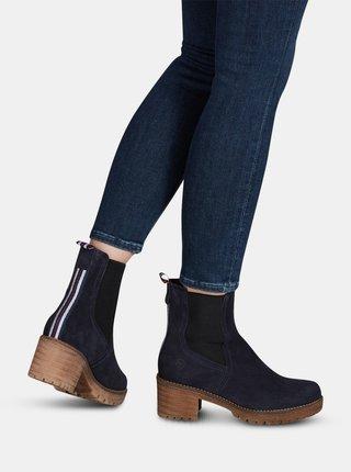 Tmavě modré semišové kotníkové boty Tamaris