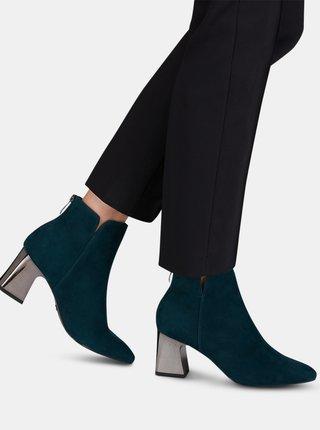 Tmavozelené semišové členkové topánky Tamaris