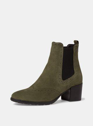 Kaki semišové členkové topánky Tamaris