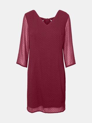 Tmavoružové bodkované šaty VERO MODA