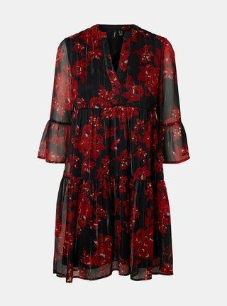 Černé květované šaty VERO MODA
