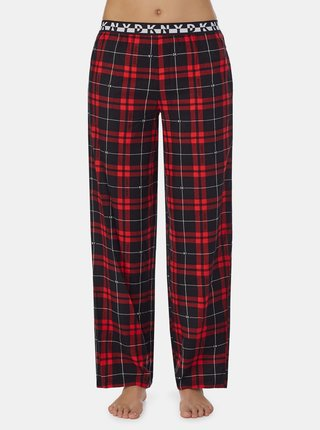 Červené kockované pyžamové nohavice DKNY