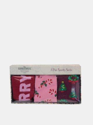 Sada troch párov dámskych ponožiek v ružovej farbe Something Special