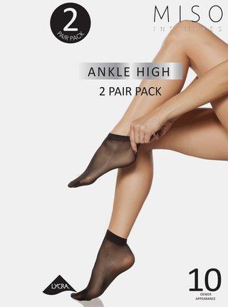 Sada dvoch párov čiernych silonkových ponožiek Something Special