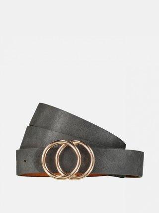 Tmavě šedý kožený pásek Hailys
