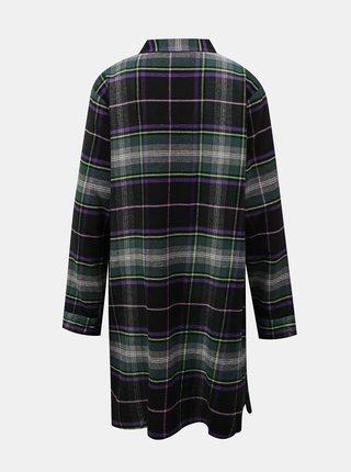 Čierna kockovaná nočná košeľa DKNY