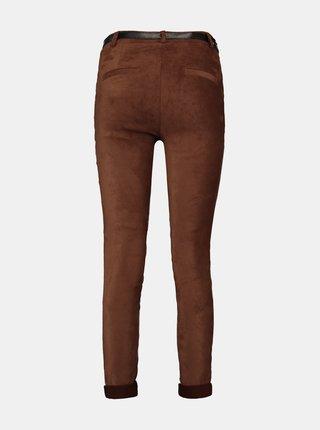 Hnědé skinni fit kalhoty v semišové úpravě Hailys