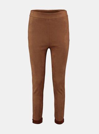 Hnědé skinny fit kalhoty v semišové úpravě Hailys
