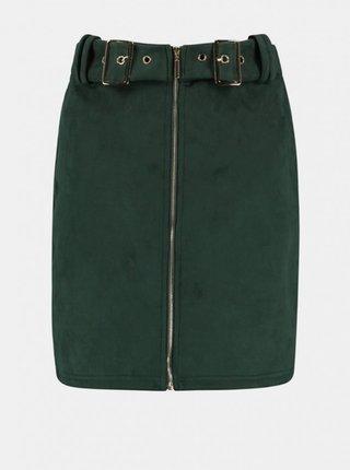 Zelená sukně v semišové úpravě Hailys