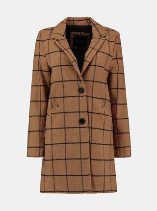 Hnědý kostkovaný kabát Hailys