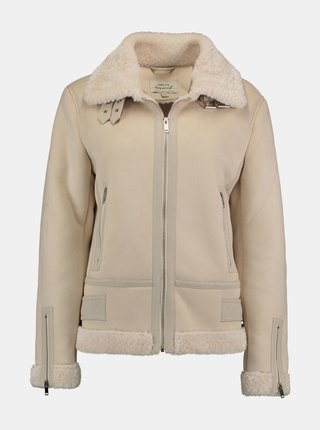 Krémová zimná bunda v semišovej úprave Hailys