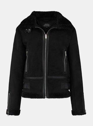 Černá zimní bunda v semišové úpravě Hailys