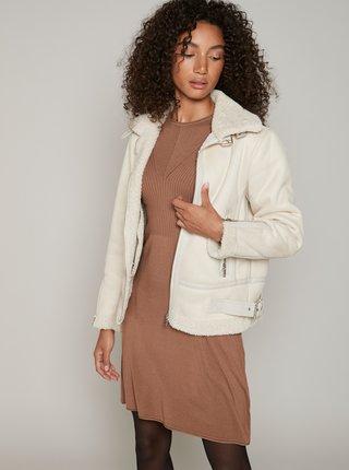Krémová zimní bunda v semišové úpravě Hailys