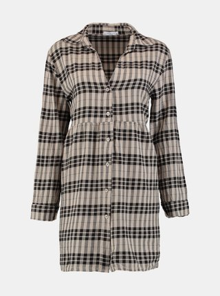Béžové kostkované košilové šaty Hailys