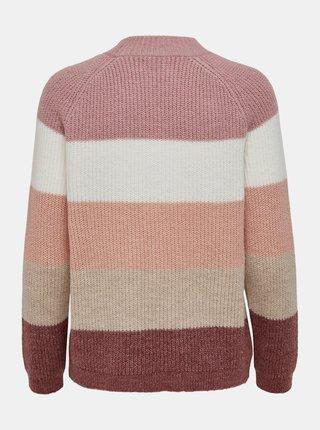 Růžový pruhovaný svetr ONLY