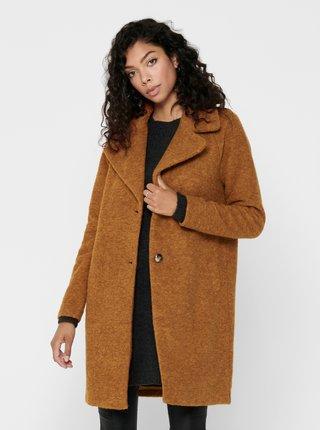 Hnědý vlněný zimní kabát ONLY Vicky