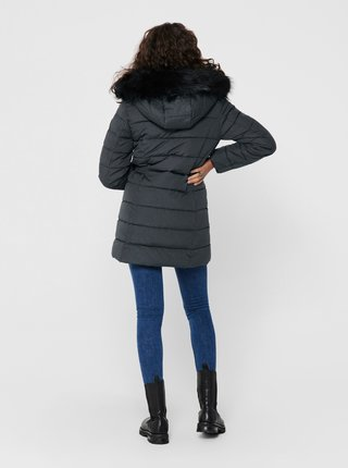 Šedý zimní prošívaný kabát ONLY Luna