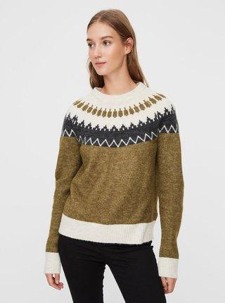 Khaki vzorovaný svetr VERO MODA Simone