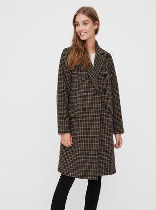 Hnědý kostkovaný vlněný kabát VERO MODA