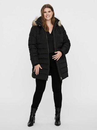 Černý zimní prošívaný kabát JUNAROSE