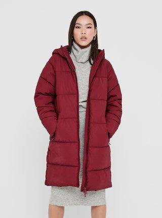 Vínový zimný kabát ONLY Sienna