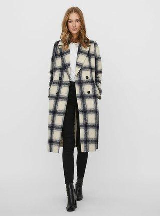 Šedo-béžový kostkovaný kabát VERO MODA Hailey