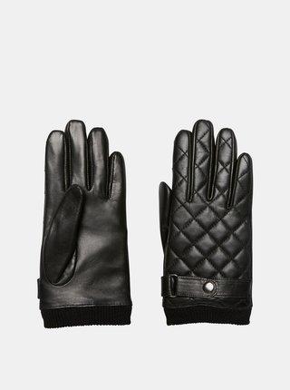 Černé kožené rukavice VERO MODA