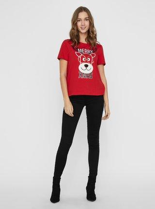 Červené tričko s vánočním motivem VERO MODA
