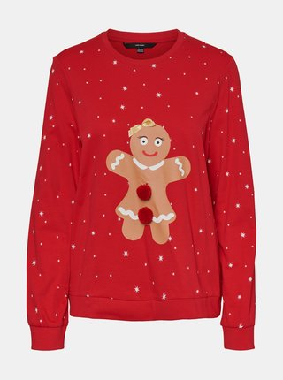 Červená mikina s vánočním motivem VERO MODA