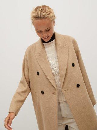 Béžový vlněný kabát Mango